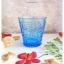 Vintage Short Glass Cup - Blue Flowers thumbnail 1