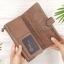 กระเป๋าสตางค์หนังแท้ทรงยาว สีน้ำตาลเทา เก็บของได้เยอะมาก เเยกชิ้นส่วนได้ ใส่มืือถือได้ thumbnail 6