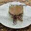 หมวกเที่ยวทะเล หมวกปีกกว้าง หมวกสานสีครีม แต่งโบว์ลายเสือเก๋ๆ thumbnail 1