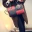 กระเป๋าถือขนาดกลาง กระเป๋าสะพายไหล่ สะพายข้าง Hand Bag Red Black สีแดงดำ thumbnail 3