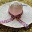 หมวกเที่ยวทะเล หมวกปีกกว้าง หมวกสานสีชมพู แต่งโบว์ลายเสือเก๋ๆ thumbnail 1
