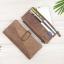 กระเป๋าสตางค์หนังแท้ทรงยาว สีน้ำตาลเทา เก็บของได้เยอะมาก เเยกชิ้นส่วนได้ ใส่มืือถือได้ thumbnail 3