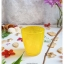 Yellow Short Glass Cup แก้วน้ำสีเหลือง ลายเกลียว นูน thumbnail 1