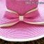 หมวกปีกกว้าง หมวกเที่ยวทะเล หมวกสานสีชมพู แต่งโบว์ใหญ่รอบเก๋ ๆ รอบศรีษะ 57-59 cm thumbnail 2
