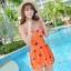 ชุดว่ายน้ำไซส์ xl สีส้ม 32-36 รอบเอว 24-30 สะโพก 34-40 นิ้ว ยาว 32 นิ้วค่ะ เนื้อผ้าดี สวยค่ะ thumbnail 1