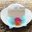 หมวกปีกกว้าง หมวกเที่ยวทะเล หมวกสาน สีครีม แต่งโบว์กุหลาบเก๋ ๆ thumbnail 1