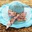 หมวกปีกกว้าง หมวกเที่ยวทะเล หมวกสานโทนสีฟ้าสวยๆคะ แต่งโบว์ลายดอกไม้วินเทจรอบเก๋ ๆ thumbnail 2