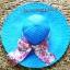 หมวกปีกกว้าง หมวกเที่ยวทะเล หมวกปีกว้างสีน้ำเงินน่ารักๆค่ะ แต่งโบว์ใหญ่ลายดอกไม้วินเทจรอบเก๋ ๆ thumbnail 3