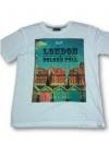 เสื้อยืดพื้นขาว (GRAVITY59) แฟชั่นแนว Vintage ภาพตึกเก่า พิมพ์คำว่า LONDON COLORS FULL Size:L