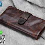กระเป๋าสตางค์ผู้ชาย หนังแท้ 100% Long Leather Dark Brown
