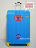 กระเป๋าเดินทางแฟชั่น สีสวยๆ แข็งแรงทนทาน Super ABS 100% ขนาด 28 นิ้ว สีฟ้าขอบเหลือง