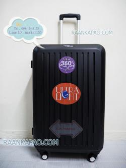 กระเป๋าเดินทางล้อลาก ABS 100% แบบซิป สีดำ ขนาด 28 นิ้ว ลายตรง