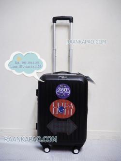 กระเป๋าเดินทาง abs 100% แบบซิป ขนาด 20 นิ้ว สีดำ ลายตรง