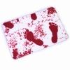 ผ้าเช็ดเท้ารอยเท้าเปื้อนเลือด