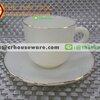 ถ้วยกาแฟเนื้อมุกพร้อมจานรอง สีงาช้าง IVORY 025-LD60-CI