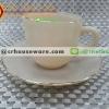 ถ้วยกาแฟเนื้อมุกพร้อมจานรอง 025-LD60-CL สีกาแฟลาเต้ latte