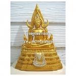 พระพุทธรูปปางมารวิชัย ซุ้มแก้ว ( พระพุทธชินราช ) สีทอง เนื้อเรซิ่น หน้าตัก 5 นิ้ว สูง 12 นิ้ว (รวมฐาน)