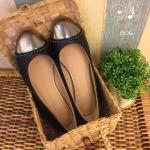 รองเท้าคัชชูผู้หญิงสีดำ ส้นแบน หนังนิ่ม ทรงสวย ใส่สบาย แบบเรียบๆ