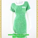 3094เดรสทำงาน เสื้อผ้าคนอ้วนสีเขียวลายผ้ามัดย้อมสไตล์ไทยๆแต่งคอและกระเป๋าสีขาวสะดุดตา