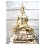 พระพุทธรูปปางมารวิชัย เนื้อโลหะ ขัดเงา หน้าตัก 9 นิ้ว สูง 16 นิ้ว ( รวมฐาน )