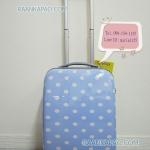 กระเป๋าเดินทางสีฟ้าขนาดเล็กกะทัดรัด ไซส์ 16 นิ้ว ลายดอท