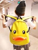 กระเป๋าเป้สะพายหลังเป็ดสีเหลือง
