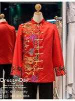 รหัส เสื้อจีนชาย : KPM006 เสื้อจีนชาย พร้อมส่ง ชุดจีนชาย โบราณ สีแดง ดีเทลทอง เหมาะมากสำหรับใส่ในพิธียกน้ำชา ถ่ายพรีเวดดิ้ง และสำหรับญาติเจ้าภาพ สำเนา