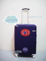 กระเป๋าเดินทาง คลิปล็อค Super abs 100% ขนาด 24 นิ้ว สีม่วงขอบขาว