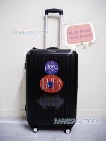 กระเป๋าเดินทาง abs 100% แบบซิป ขนาด 24 นิ้ว สีดำ ลายตรง