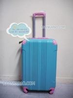 กระเป๋าเดินทางไฟเบอร์ผสมabs 24 นิ้ว สีฟ้ามุมชมพู