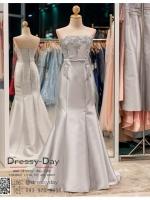 รหัส ชุดราตรียาว : PF051 ชุดแซก ชุดราตรีสีเทาเงิน เกาะอก ผ้าไหมเนื้อดีสวยหรู ดูดีมีระดับ สวยเก๋เหมาะใส่ออกงานกลางคืน งานแต่งงาน งานพรมแดง