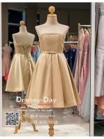 รหัส ชุดราตรีสั้น :PF006 ชุดราตรีสั้น เดรสออกงาน ชุดไปงานแต่งงาน ชุดแซก สีทอง เกาะอก สวยหรูประดับมุก เหมาะสำหรับงานแต่งงาน งานกลางคืน กาล่าดินเนอร์