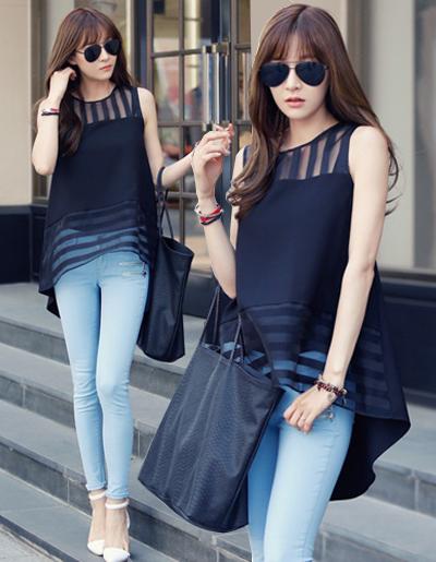 เสื้อแฟชั่นเกาหลีแขนกุดแบบสวยหรูดูดีมี 2 ไซส์ M,L