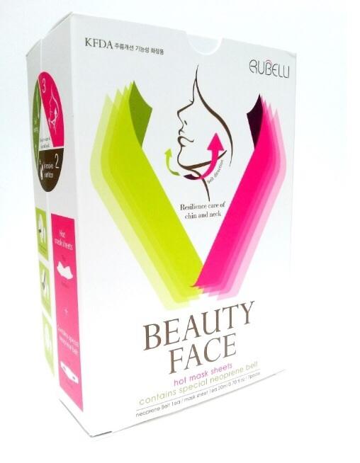 Rubelli Beauty Face Hot Mask Sheets รูเบลลี่ บิวตี้ เฟส มาร์ค ปรับรูปหน้าเรียว