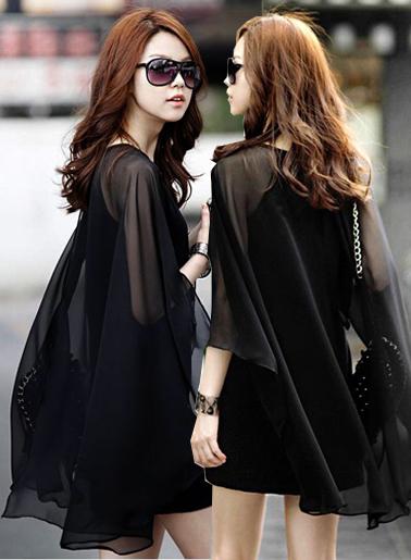 ชุดเดรสแฟชั่นสีดำ แขนกุด แต่งเก๋ผ้าชีฟองคลุมไหล่มี 2 ไซส์ M,L
