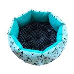 เบาะนอนสุนัข แบบวงกลม (ลายสุนัข สีฟ้า)