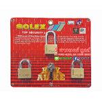 SOLEX KEY ALIKED กุญแจทองเหลืองแท้ ขนาด 40 มม. 3 ตัวชุด (ห่วงสั้น 2 และยาว 1)