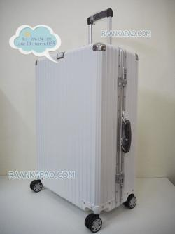 กระเป๋าเดินทางขอบอะลูมิิเนียมล็อค 29 นิ้ว หูหิ้วหนัง รุ่น 811 สีขาว