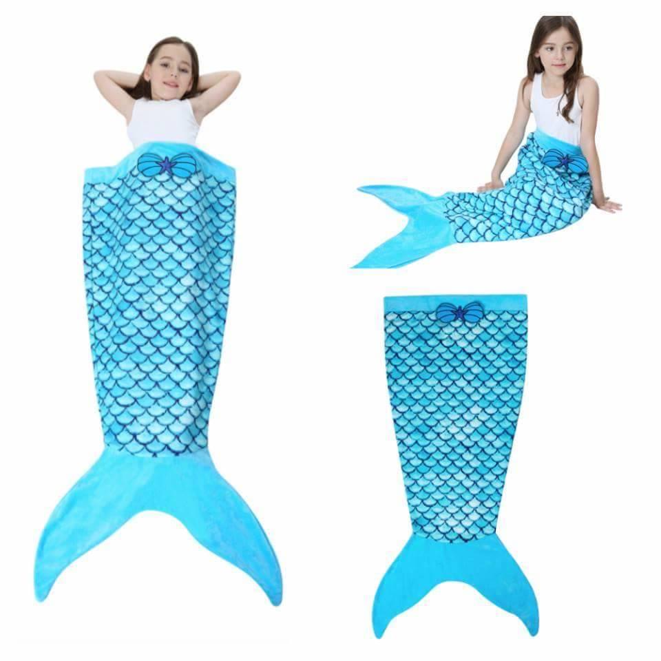 ผ้าห่มหางนางเงือก สีฟ้า