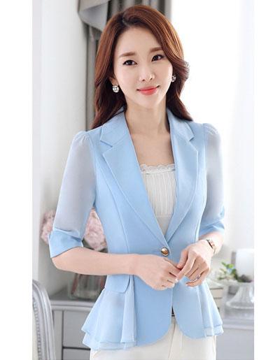 เสื้อสูทผู้หญิงสีฟ้าแต่งแขนและชายระบายชีฟองสไตล์สวยหรูมี 5 ไซส S/M/L/XL/2XL รหัส 1804