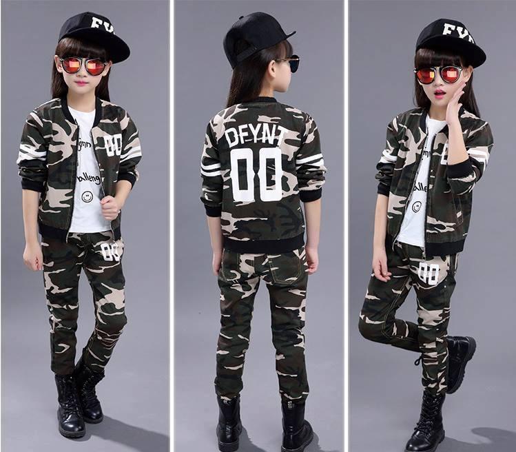 ชุดกันหนาวเด็ก ชุดเสื้อแขนยาวลายทหาร+กางเกงขายาว