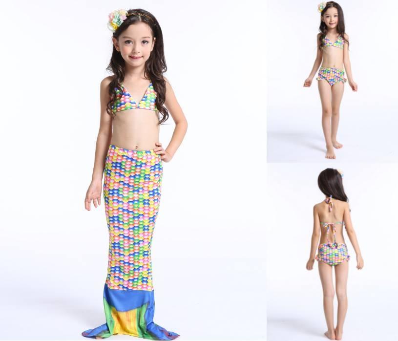 ชุดเด็ก ชุดว่ายน้ำหางนางเงือก จุดหลากสีรุ้ง