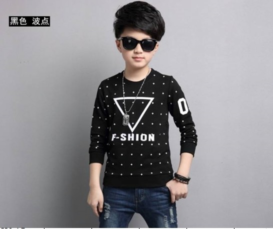 ชุดเด็ก : เสื้อคอกลมแขนยาว สีดำจุด