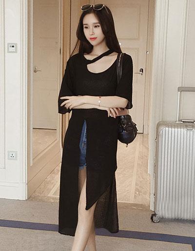 เสื้อแฟชั่นตัวยาวผ่าหน้า ใส่ชิลด์ ชิลด์ สวยหวานสไตล์เกาหลี รหัส 1686-สีดำ