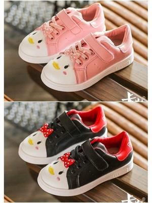 รองเท้าผ้าใบเป็ด สีชมพู-ดำ