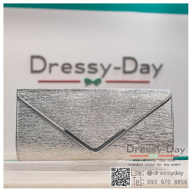 กระเป๋าออกงาน TE044: กระเป๋าออกงานพร้อมส่ง สีเงิน ใบใหญ่ สวยเรียบหรู ราคาถูกกว่าห้าง ถือออกงาน หรือ สะพายออกงาน สวยเหมือนดารา