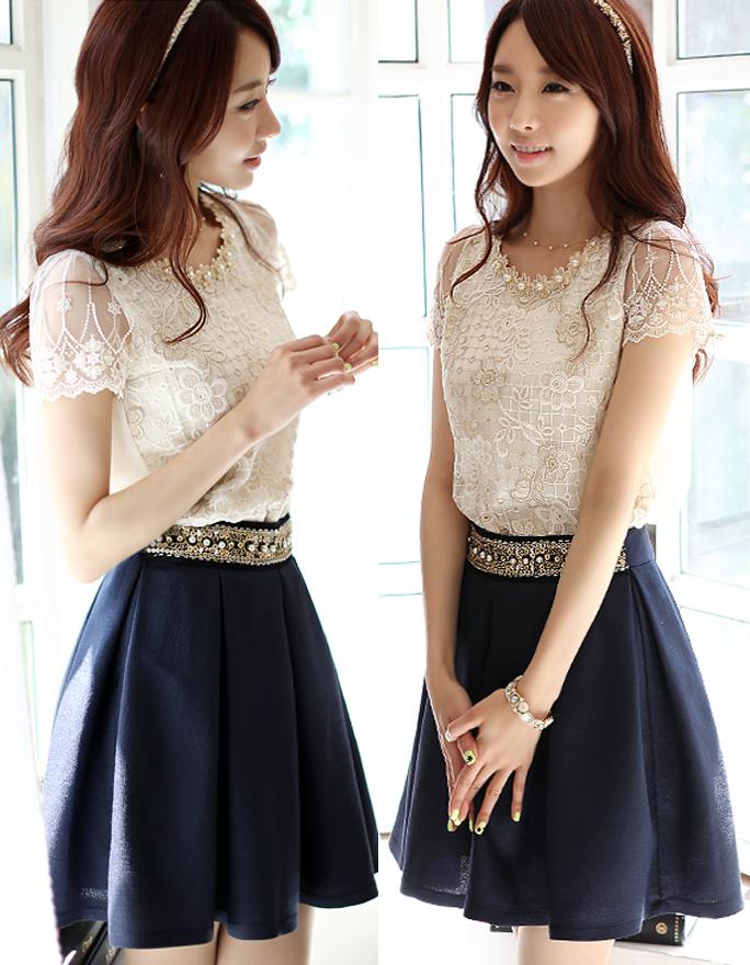 เสื้อแฟชั่น แขนสั้น ปักมุกที่คอสวยน่ารักสไตล์เกาหลี รหัส 1151