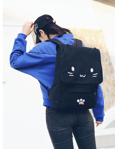 กระเป๋าเป้สีดำปักลายหน้าแมวสุดน่ารัก สะพายเก๋ๆ สไตล์เกาหลี รหัส B030