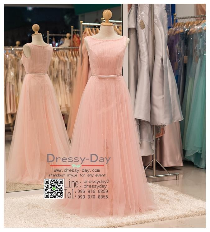 รหัส ชุดราตรี :PFL045 ชุดแซก ชุดราตรียาว หรู สีชมพู สวยหวานน่ารักมากๆ เหมาะสำหรับงานแต่งงาน งานกลางคืน กาล่าดินเนอร์