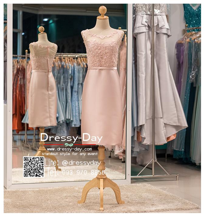 รหัส ชุดราตรี :PFS039 ชุดแซกผ้าลูกไม้งานสวยตกแต่งกริตเตอร์ ชุดราตรีสั้นหรูสีชมพู สวย สง่า ดูดีแบบเจ้าหญิง ใส่เป็นชุดไปงานแต่งงาน งานกาล่าดินเนอร์ งานเลี้ยง งานพรอม งานรับกระบี่
